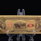 WR 1901 colorful 24k gold foil Ten Dollar Bison Note In Protective Sleeve