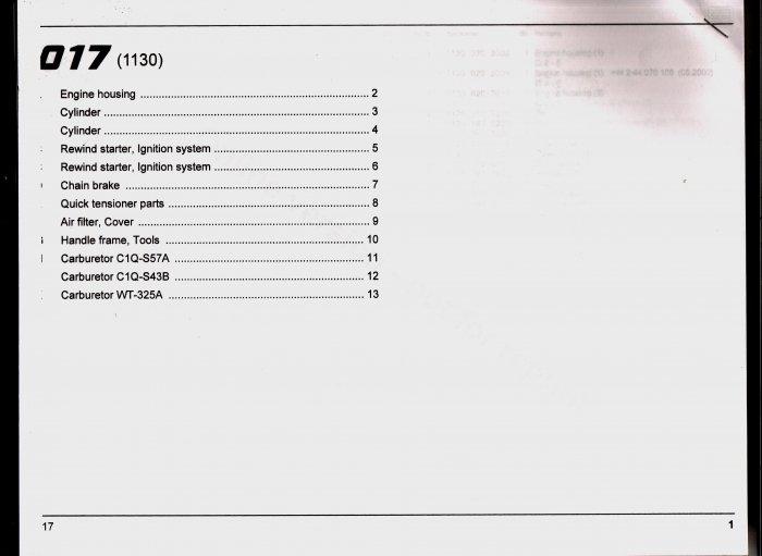 Chain Saw Parts List Stihl 017