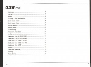Chain Saw Parts List Stihl 036