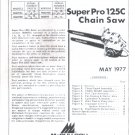 Chain Saw Parts List McCulloch Super Pro 125c