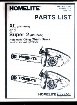 Chain Saw Parts List HOMELITE XL and Super 2