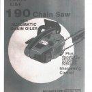 Chain Saw Parts List HOMELITE 190