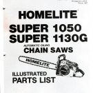 Chain Saw Parts List Homelite Super 1050, Super 1130G
