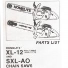 Chain Saw Parts List Homelite XL-122 and SXL-AO