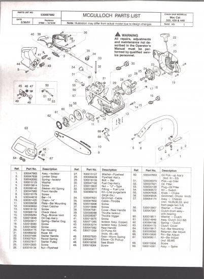 Chain Saw Parts List McCulloch MacCat 335,435,440