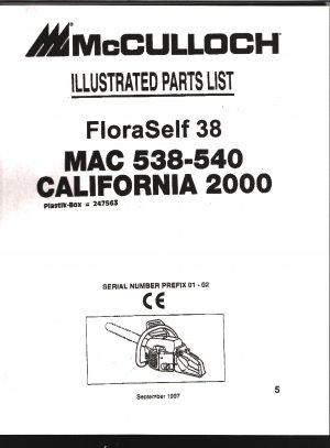 Chain Saw Parts List Mc Culloch , Mac 538-540, FloraSelf 38, California 2000