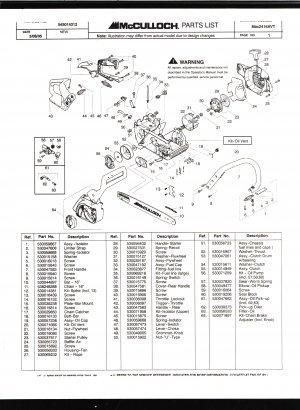 Chain Saw Parts List Mc Culloch , Mac 2416AVT
