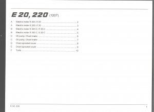 Chain Saw Parts List Stihl Electric  E20,220