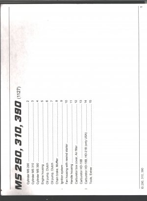 Chain Saw Parts List STIHL MS 290, 310, 390