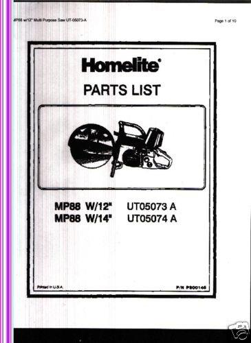 """Homelite Multi Purpose Saw MP88 W/12"""" Parts List"""
