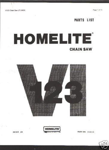 Homelite VI 123,  Chain Saw Parts List