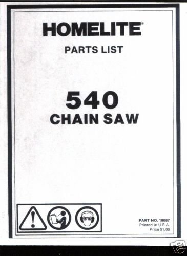 Homelite 540,  Chain Saw Parts List