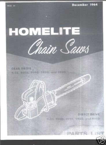 Homelite 900 Series Chain Saw Parts List
