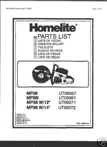 Homelite Multi Purpose Saw MP38L Parts List