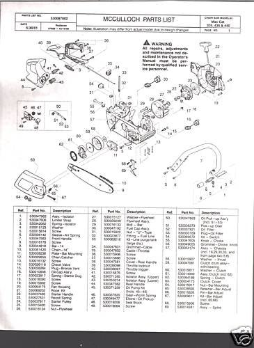 Mac Cat 335 435 440 Mcculloch Chain Saw Parts List