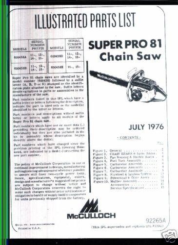 Supr Pro 81, McCulloch Chain Saw Parts List (1976)