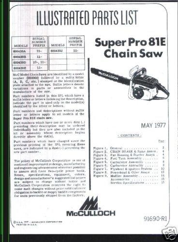 Supr Pro 81E, McCulloch Chain Saw Parts List