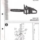 Mac 833,835,839, McCulloch Chain Saw Parts List