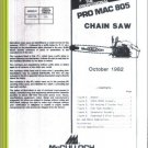 Pro Mac 805, McCulloch Chain Saw Parts List