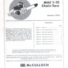 MAC  1-10 ,1970 Model, McCulloch Chain Saw Parts List