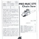 Pro Mac 570, McCulloch Chain Saw Parts List