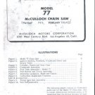 Model 77,  McCulloch, Vintage  Chain Saw Parts List