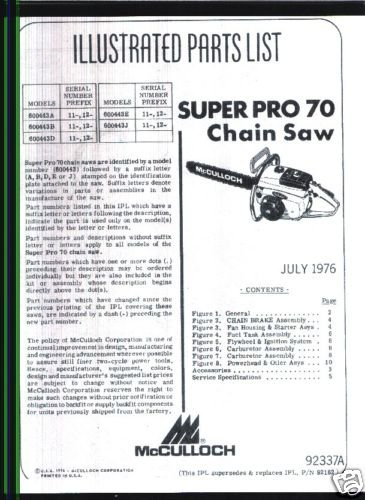 Super Pro 70, McCulloch Chain Saw Parts List