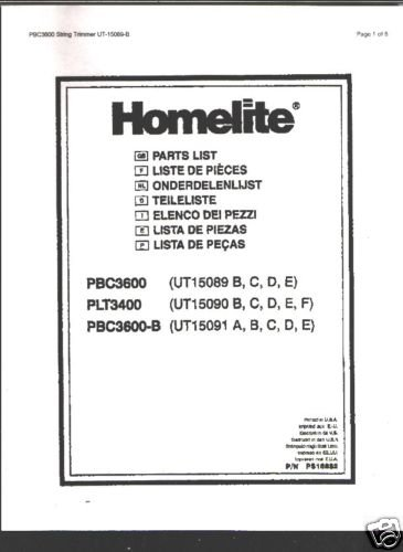 Homelite String Trimmer PBC3600 Parts List