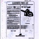 Wildcat 38cc McCulloch Chain Saw Parts List (1989)