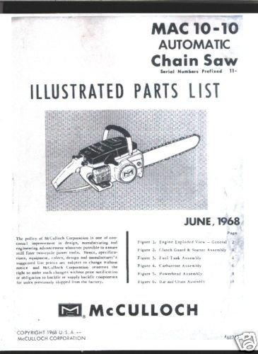 MAC  10-10 1968 Model, McCulloch Chain Saw Parts List