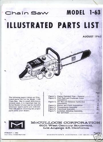 Model 1-63  McCulloch Chain Saw Parts List (1964)