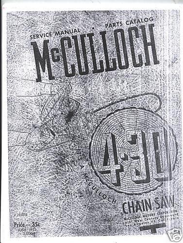 Model 4-30  McCulloch Chain Saw Service Manual (1953)