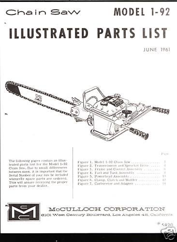 Model 1-92 ( 2 Man Saw), McCulloch Chain Saw Parts List
