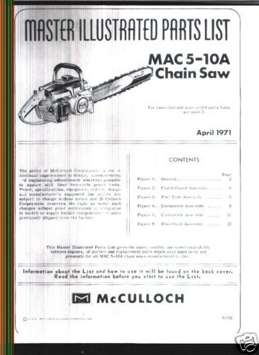 MAC  5-10A , McCulloch Chain Saw Parts List (1971)