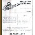 MAC  5-10A , McCulloch Chain Saw Parts List (1971)