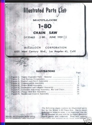 Model 1-80, Vintage McCulloch Chain Saw Parts List