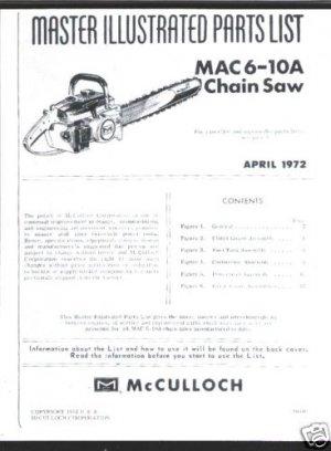MAC  6-10A ,McCulloch Chain Saw Parts List (1972)
