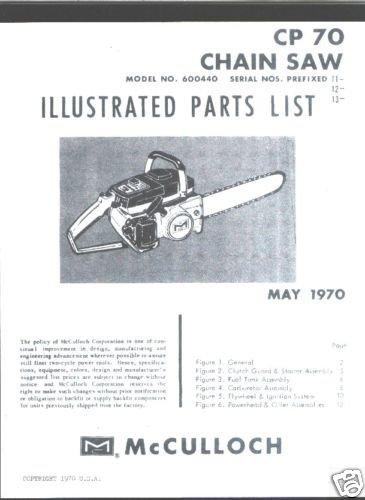 MAC  CP 70, McCulloch Chain Saw Parts List (1970)