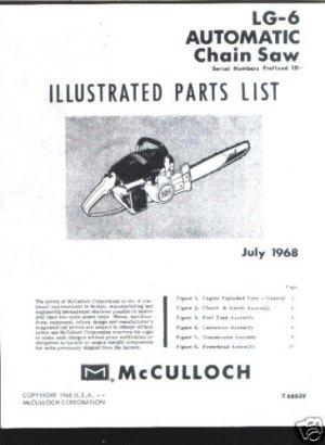 MAC  LG -6 , Model,McCulloch ChainSaw Parts List (1968)