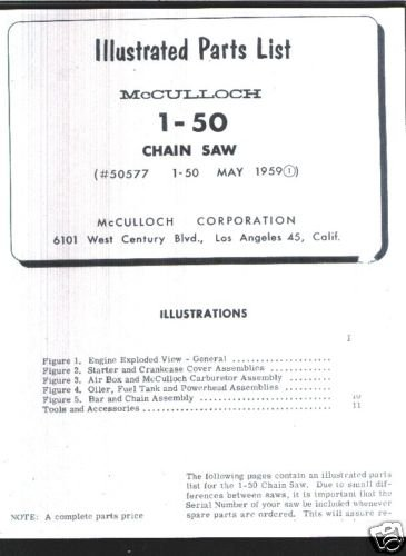 1-50, Vintage McCulloch Chain Saw Parts List