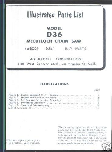Mac D-36,  McCulloch,  Chain Saw Parts List (1958)