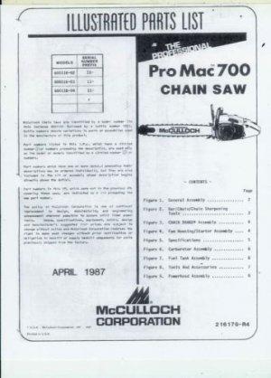 Mcculloch Pro Mac 700 Chain Saw Parts List border=