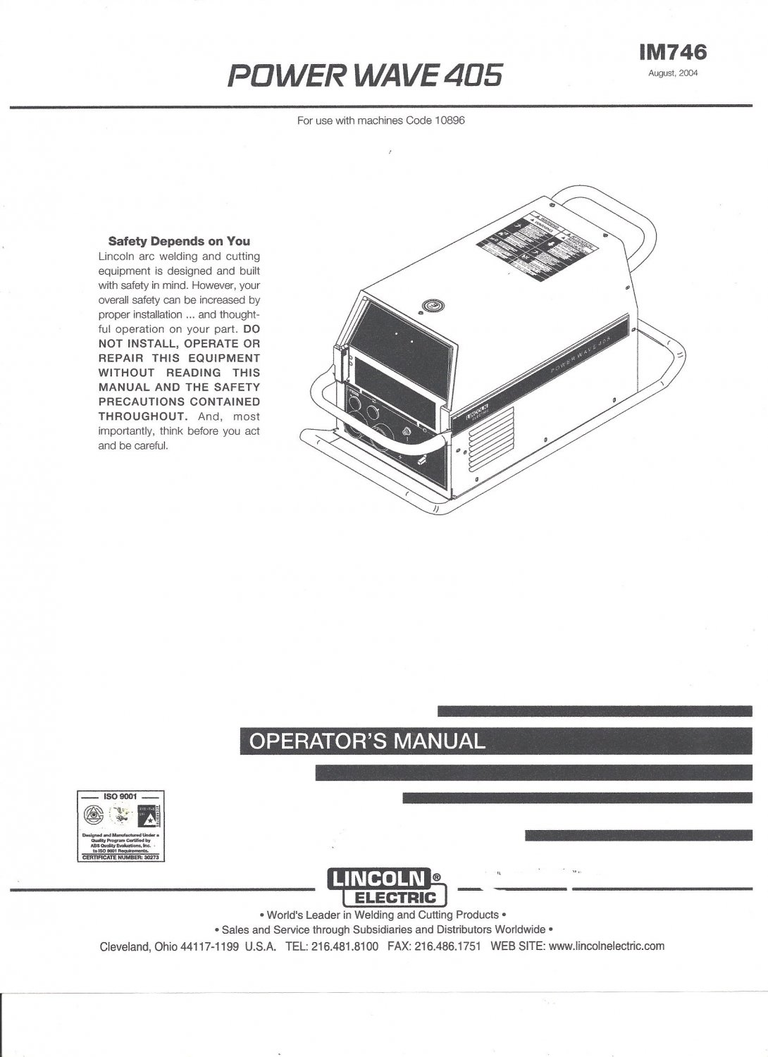 Lincoln Invertec V160invertec V160 T Tig Welder 275 Parts Electric Power Wave 405 Operator Manual
