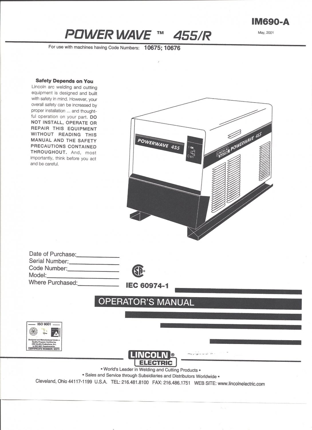 Lincoln Electric POWER WAVE 455/R Welder Operator's Manual ( Copy)