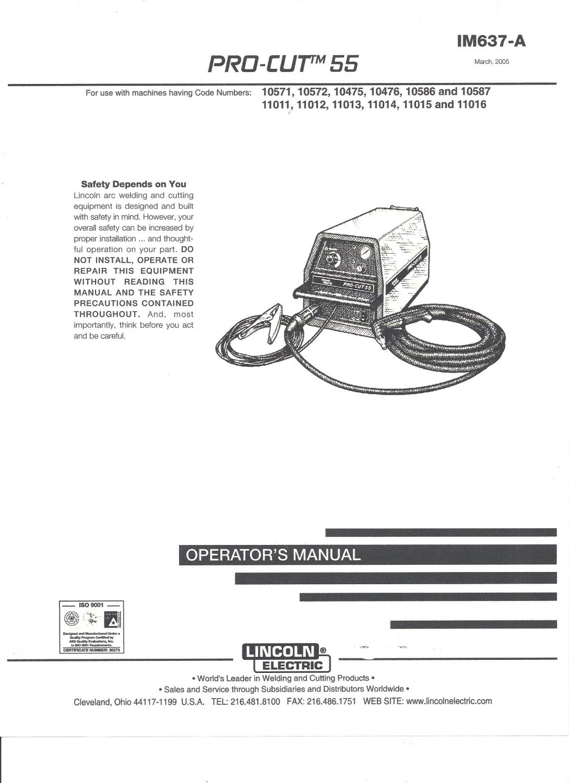 Lincoln Electric PRO CUT 55 Welder Operator's Manual ( Copy)