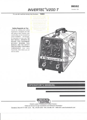 Lincoln Electric INVERTEC V200-T Welder Operator's Manual ( Copy)