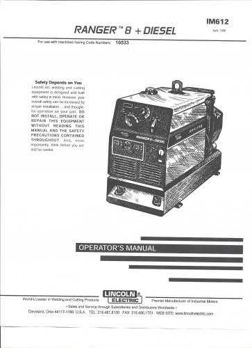 lincoln electric ranger 8   diesel welder operator u0026 39 s manual   copy