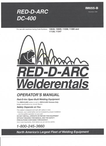 Lincoln Electric RED-D-ARC DC 400 Welder Operator's Manual ( Copy)