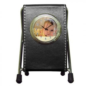 Custom Pen Holder Desk Clock Black Customize Promotional Item Personalize It