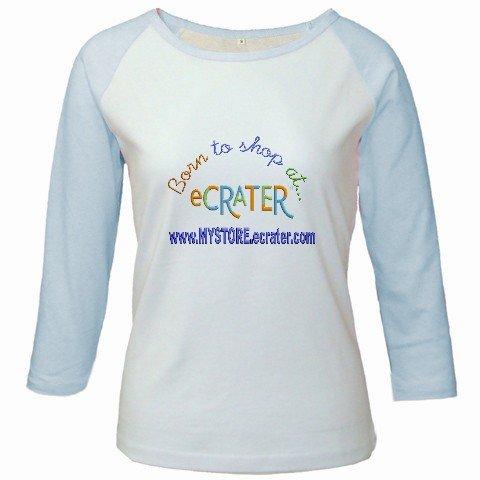 Custom Jr. Raglan Baseball Jersey Baby Blue White T-Shirt Medium Promotional Personalize Logo Item